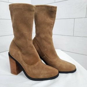Sol Sana Boots Chloe Booties 37 Tan Brown Suede